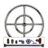 Spotix AFG Round Fire Pit Burner Kit (SS-FR-12KIT-LP-MSCB), 12-Inch Burner, Match Light, Propane