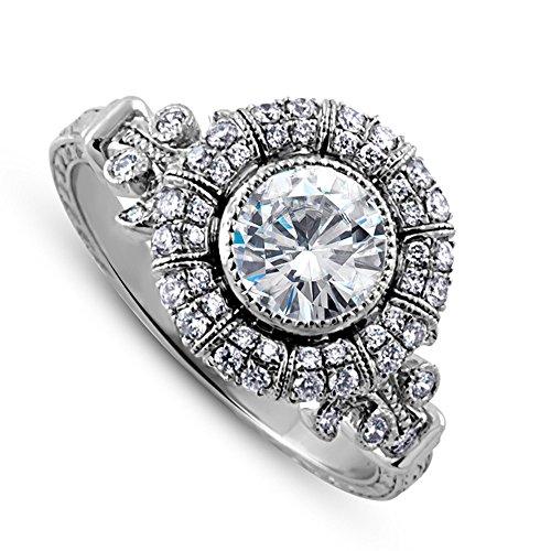 Hand Engraved Engagement Setting (14K White Gold Diamonds Forever One Moissanite Halo Heirloom Hand Engraved Engagement Ring 2mm Wide)