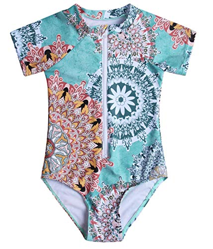 Caracilia Little Girls Short Sleeve Zipper Rash Guard One Piece T01-L - Guard Sleeve Girls Short Rash