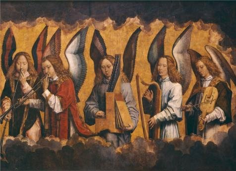 - 'Hans Memling - Christ With Singing And Music-Making Angels, Right Panel,1480s' Oil Painting, 18x25 Inch / 46x63 Cm ,printed On Perfect Effect Canvas ,this High Definition Art Decorative Canvas Prints Is Perfectly Suitalbe For Home Theater Gallery Art And Home Decor And Gifts