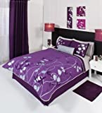 Purple Silver Gray Comforter Bedding Set Queen 5 Pcs