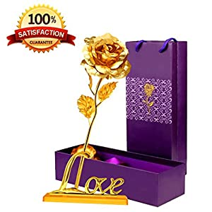 24K Golden Foil Rose,10'' Shinny Rose with LOVE Base,Gift idea for Her,Wife,Girlfriend,Mother,Women,on Valentine's Day,Mother's Day,Birthday,Wedding,Christmas Day,Special Days 91