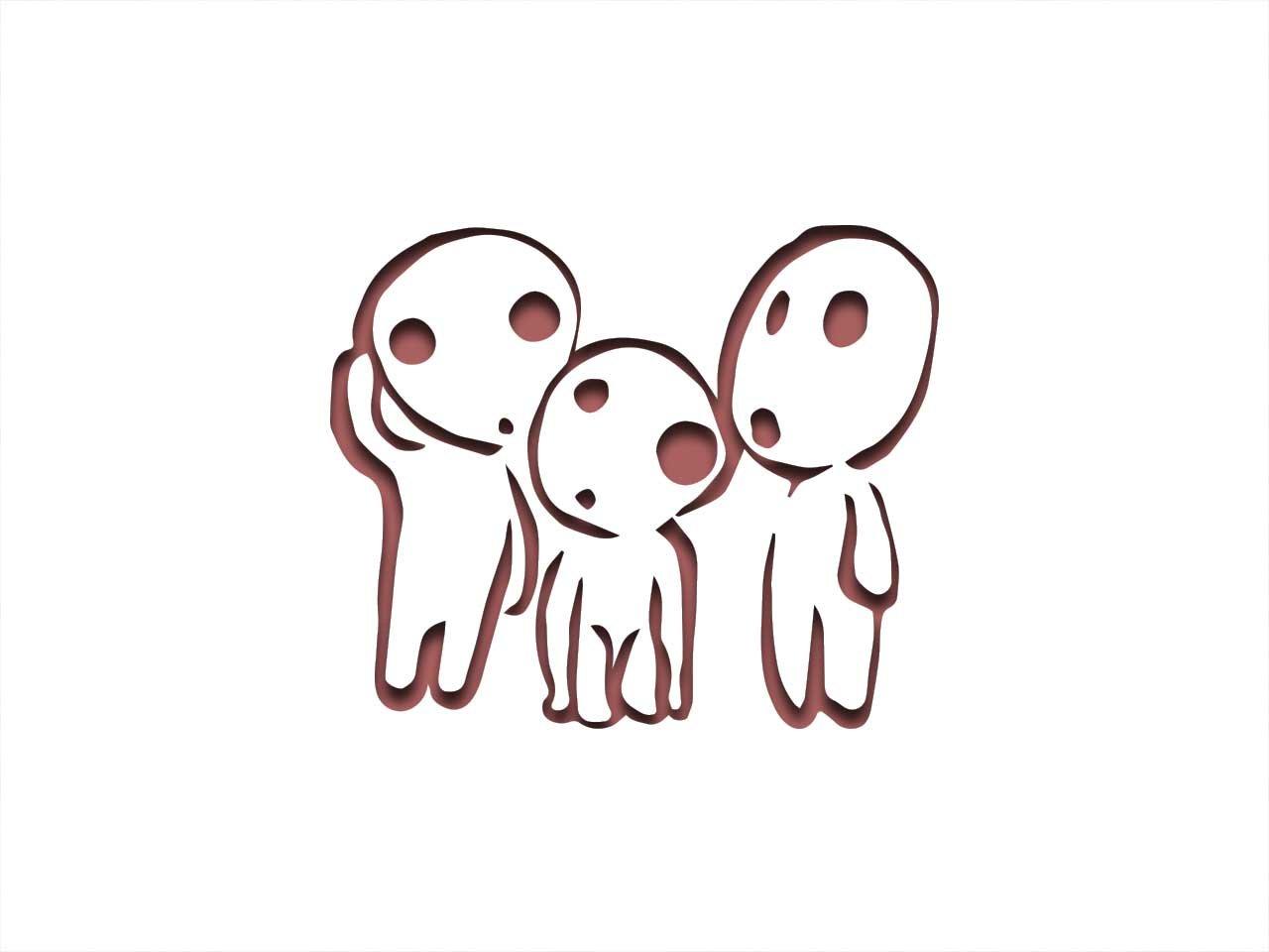 Kodama Ghibli Inspired Stencil - 12' x 8' - 190Mu Mylar A, Airbrushing, Craft, Grafitti ST-ML-AN-00010 Apex Laser ltd