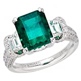 Amoro 18k White Gold Colombian Emerald Ring and Diamond Ring (1.65 cttw, G-H Color, VS2-SI1 Clarity)