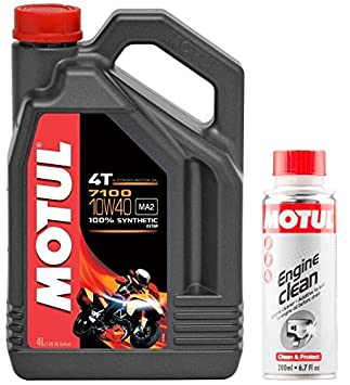 MOTUL Duo Aceite Moto 7100 4T 10 W-40, 4 L + Engine Clean 200 ML: Amazon.es: Coche y moto