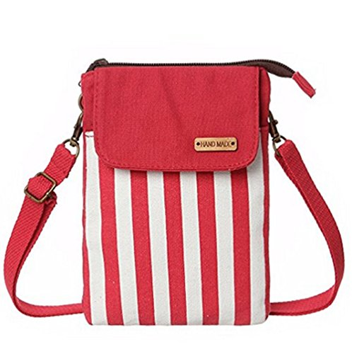 Women Canvas YaJaMa Red Cellphone Girls Shoulder Pouch Crossbody Stripe Bag nX141SP