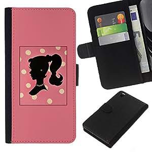For HTC DESIRE 816 Case , Polka Dot Woman Peach Yellow Pattern - la tarjeta de Crédito Slots PU Funda de cuero Monedero caso cubierta de piel