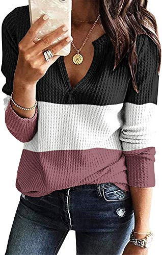 BETTE BOUTIK Womens Tunic Tops Long Sleeve V Neck Blouse Waffle Knit Loose Casual Shirts