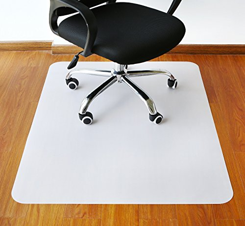 Polytene Office Chair Mat, 47''x35'',Hard Floor Protection with Rectangular Shaped Anti Slide Coating on the Underside,White, extra thick 2.1mm by Tikteck