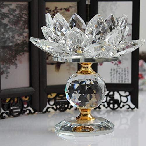 Cikuso Glass Bloc Lotus Fleur Bougeoirs en M/étal Feng Shui D/écor /à La Maison Grand Bougie Chauffe-Bougie Bougeoir Chandelier-Blanc