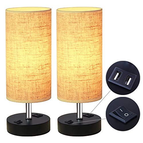 ZEEFO Dual 2.1A USB Charging Port Bedside Table Lamp with Press Switch, Black Base Modern Minimalist Design Desk Lamp 2 Set, Very Convenient Nightstand Lamp to Decor Your Bedroom, Guest Room (2Pack)