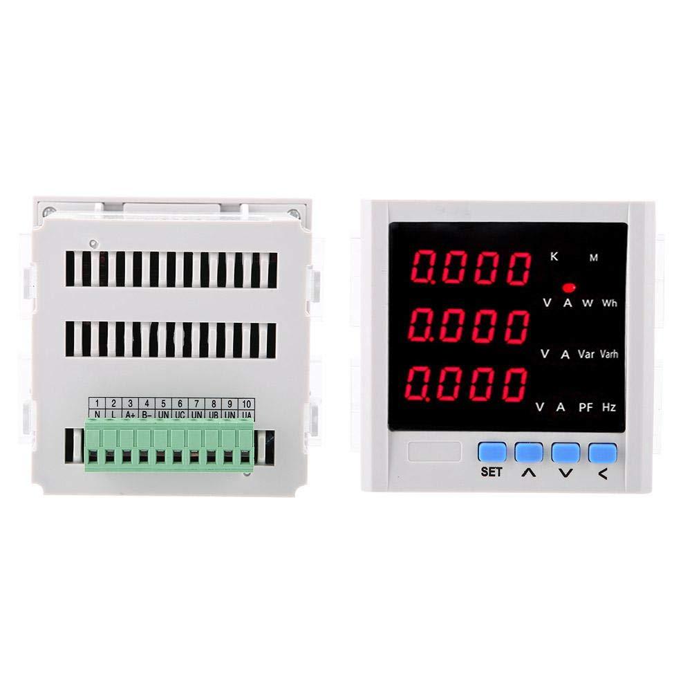 Blanche Akozon AC amp/èrem/ètre num/érique LED voltm/ètre courant triphas/é amp/èrem/ètre programmable voltm/ètre Amp Voltm/ètre TRMS Mesure