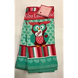 2 Pack Valentine's Day Love Owl Plush Kitchen Towels, Whoo Loves You?