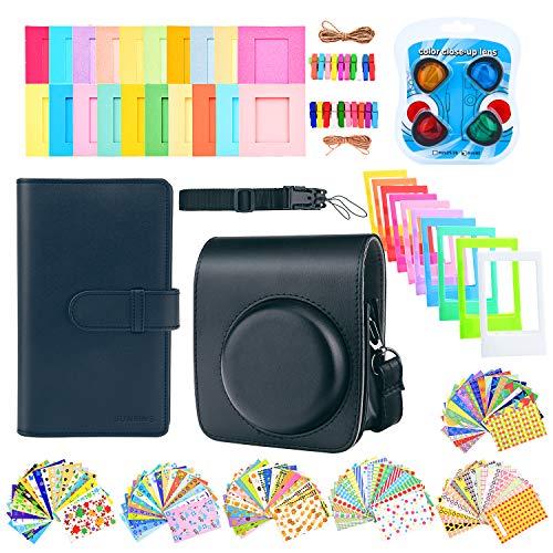 Sunmns Accessories Bundle Kit Set for Fujifilm Instax Mini 90 Instant Film Camera, Accessory Include Case, Album, Stickers, Photo Frames, Hanging Frame, Filter, Strap, Black