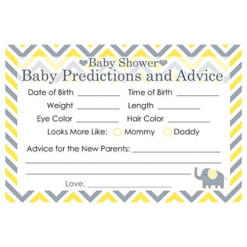 Yellow and Gray Elephant Baby Shower Advice and Predictions - 20 Cards