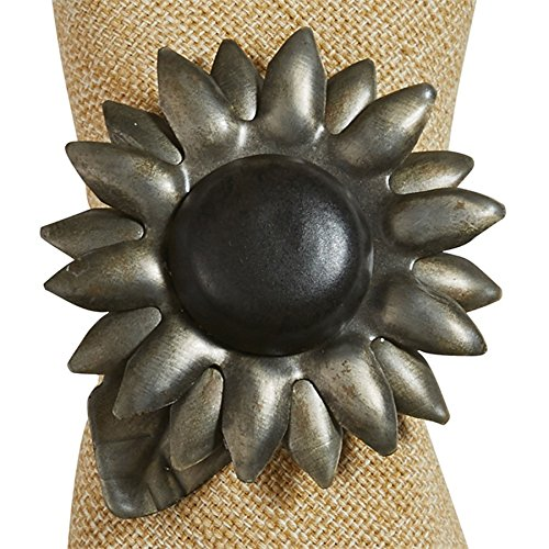 Galvanized Metal Sunflower Napkin Ring, Set of 4