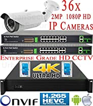 USG 8MP Ultra 4K NVR 36 Camera Security System PoE IP CCTV Kit: 36x 2MP IP PoE 2.8-12mm Bullet Cameras + 1x 36 Channel H.265 8MP NVR + 2x 18 Port PoE Switch + 2x 4TB HDD * Free Apple Android Phone App