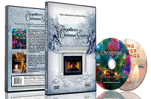 Fireplaces & Christmas Scenery - DVD with Fireplace and Snow & Xmas Decorations with Hyms and Music