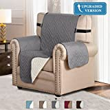 H.VERSAILTEX Updated Version Pet Friendly Water Repellant Plush Reversible Furniture Sofa Protector with Elastic Straps Features Prevent Spills, Wear and Tear (Recliner: Gray/Beige)-79'' x 68''