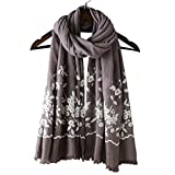 Womens Oversized Embroidery Shawl Fashion Large Long Winter Scarf Cotton Linen National Style Floral Scarf Wrap Cape (One Size, Khaki)