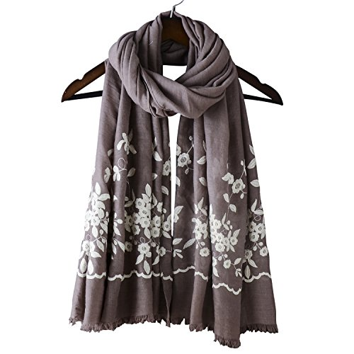 Style Long Scarf - Womens Oversized Embroidery Shawl Fashion Large Long Winter Scarf Cotton Linen National Style Floral Scarf Wrap Cape (One Size, Khaki)