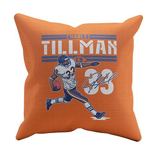 - 500 LEVEL Charles Tillman Soft And Comfortable Throw Pillow - Vintage Chicago Football Merchandise - Orange 20