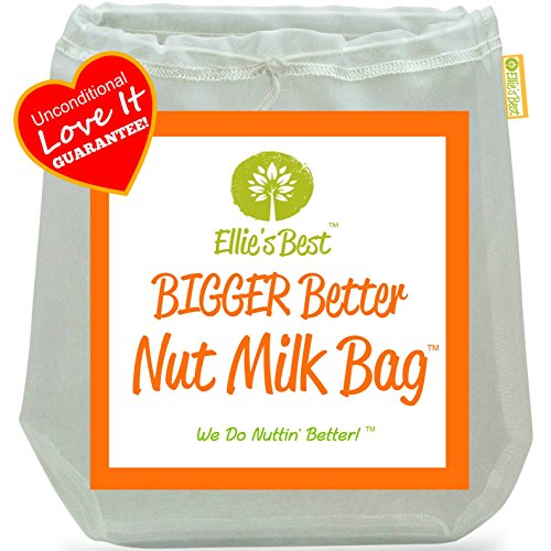 "Pro Quality Nut Milk Bag - Big 12""X12"" Commercial Grade - Reusable Almond Milk Bag & All Purpose Strainer - Fine Mesh Nylon Cheesecloth & Cold Brew Coffee Filter - Free Recipes & Videos (1)"