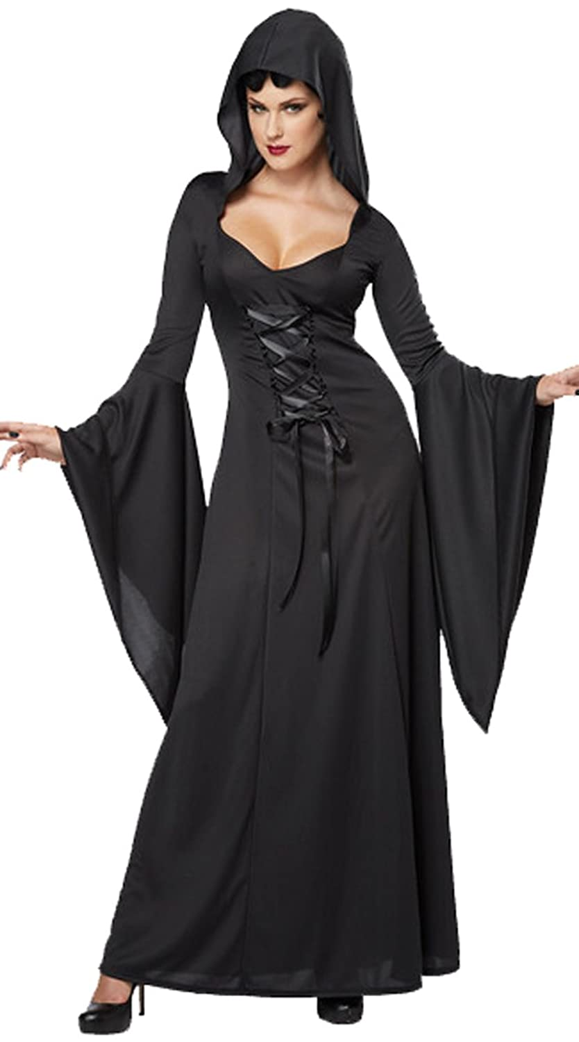 Amazon.com: COSWE Womens Hooded Robe Classic Witch Long Dress ...