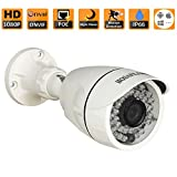 HOSAFE 2MB6P HD IP Camera POE Outdoor 2MP 1920x1080P Night Vision ONVIF H.264 Motion Detection Email Alert Remote View Via Smart Phone/Tablet/PC, Working With Foscam IP Camera Software Blue Iris iSpy IP Camera DVR(White)