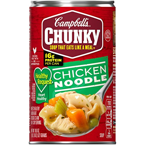 Campbell's Chunky Healthy Request Chicken Noodle Soup, 18.6 oz. Can (Pack of 12) Classic Chicken Noodle Soup