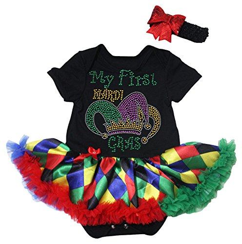 Petitebella My First Mardi Gras Crown Black Bodysuit