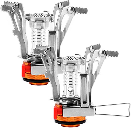 Reehut (2 PC) Ultralight Portable Camp Stoves for Camping, Outdoor, Backpacking & Hiking (Orange) (Canister Stand Propane)