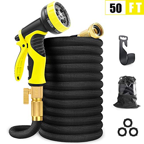 50FT Expandable Garden Hose, Extra Strength Fabric and Double Latex Core Water Hose, 3/4″ Solid Brass Fittings Flexible No-Kink Expanding Hose with 9 Function Spray Nozzle