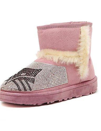 Plano Brown Nieve Pink De Zapatos us6 5 Piel Punta Cn40 Eu39 Uk4 Rosa Marrón Mujer Botas Negro 5 Redonda Tacón Casual us8 Xzz Uk6 Cn36 Eu36 Ifq6Y