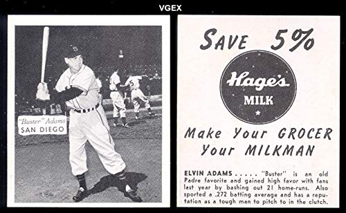 1950 Hages Dairy Regular (Baseball) card#3b Buster Adams batting stance box not touching of the San Diego Padres Grade very good/excellent