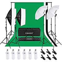CRAPHY Photo Studio Lights Kit - 2x33 Umbrella and 2x24 Soft Box Continuous Lighting Equipment + Backdrop Support System (8.5x10FT Stand + 6x9FT Muslin Backdrop Black/White/Green)