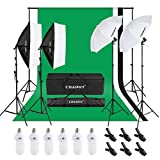 CRAPHY Photo Studio Lights Kit - 2x33'' Umbrella and 2x24'' Soft Box Continuous Lighting Equipment + Backdrop Support System (8.5x10FT Stand + 6x9FT Muslin Backdrop Black/White/Green)