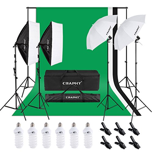 CRAPHY Photo Studio Lights Kit – 2×33 Umbrella and 2×24 Soft Box Continuous Lighting Equipment + Backdrop Support System (8.5x10FT Stand + 6x9FT Muslin Backdrop Black/White/Green)