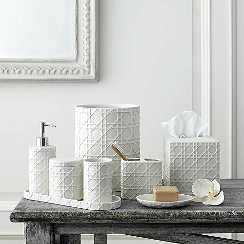 3-Piece Bath Accessory Set by Kassatex, Rattan Bath Accessories | Toothbrush Holder, Tray, Tumbler - Embossed (Porcelain White Accessories)