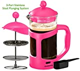 Cheap Ovente French Press Cafetière Coffee and Tea Maker, Heat-Resistant Borosilicate Glass, 34 oz (1005 ml), 8 cup, Pink (FPT34F), FREE Measuring Scoop