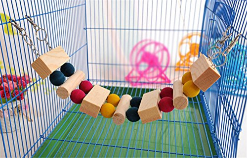 Pets Small Animal Rainbow Wooden Bridge Seesaw Playground Hammocks Hideout for Hamsters and Other Small Animals ,13inch