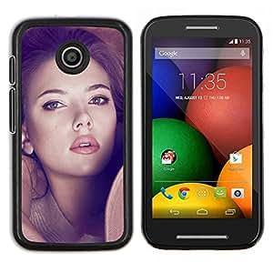 """Be-Star Único Patrón Plástico Duro Fundas Cover Cubre Hard Case Cover Para Motorola Moto E / XT1021 / XT1022 ( Scarlett Johansson Sexy"""" )"""