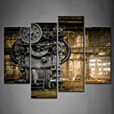 4 Panel Wall Art Metallurgical Firm Waiting For A Demolition Machine Old  Factory Painting Pictures Print