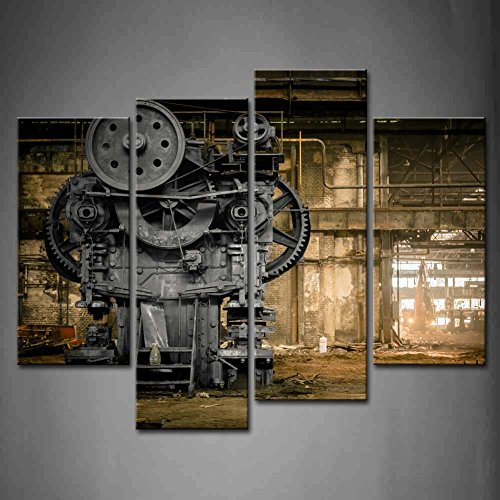 Superb 4 Panel Wall Art Metallurgical Firm Waiting For A Demolition Machine Old  Factory Painting Pictures Print On Canvas Architecture The Picture For Home  Modern ... Part 19