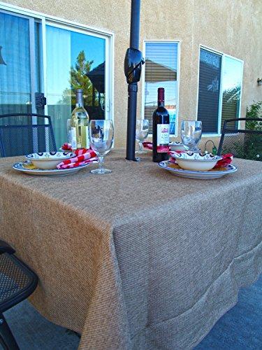 LinenLovers Polyester Prairie Burlap Umbrella Table Cloth (68