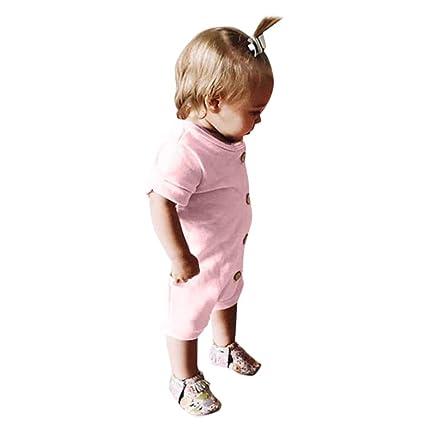 6672447cb Amazon.com  Newborn Baby Boys Girls Solid Button Romper Bodysuit ...
