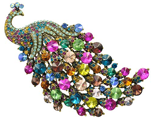 Gyn&Joy Vintage Style Multi Color Crystals Peacock Brooch Pin BZ242 ()