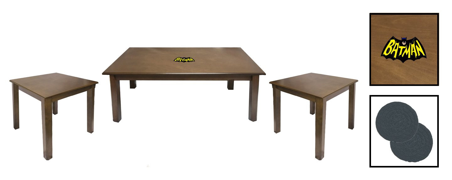 3 Piece Walnut Finish Coffee and End Tables Set Featuring the Choice of Your Favorite Superhero Theme Logo - FREE Coasters Included! (Batman Retro)