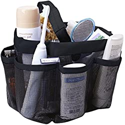 Quick Dry Hanging Shower Caddy with 8 Mesh Pockets Portable Bath Toiletry Cosmetics Shampoo Soap Organizer Shower Tote for College Dorm Gym Camp & Travel Bathroom Shower Caddy Storage Bag with Handle
