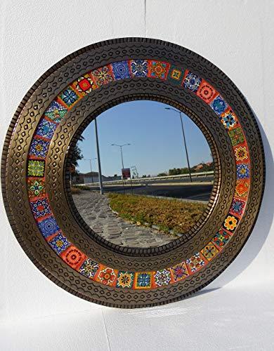 ROUND PUNCHED TIN MIRROR mixed talavera tile mexican folk art wall decoration